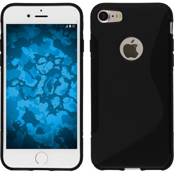 Silikon Hülle iPhone 7 / 8 S-Style schwarz + 2 Schutzfolien