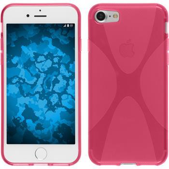 Silikon Hülle iPhone 7 / 8 X-Style pink + 2 Schutzfolien