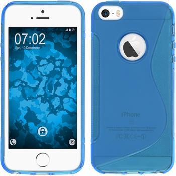 Silikon Hülle iPhone SE S-Style Logo blau