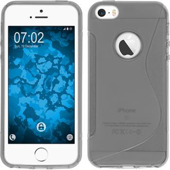 Silikon Hülle iPhone SE S-Style Logo grau