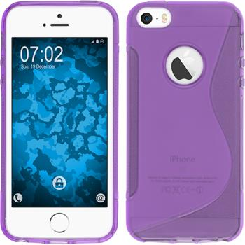 Silikon Hülle iPhone SE S-Style Logo lila