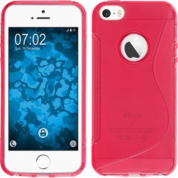 Silikon Hülle iPhone SE S-Style Logo pink