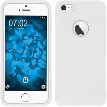 Silikon Hülle iPhone SE S-Style Logo weiß