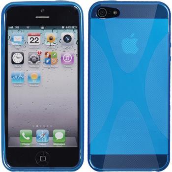 Silikon Hülle iPhone SE X-Style blau