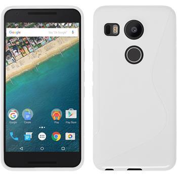 Silikon Hülle Nexus 5X S-Style weiß + 2 Schutzfolien
