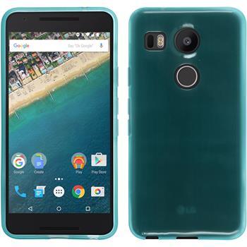 Silikon Hülle Nexus 5X transparent türkis + 2 Schutzfolien