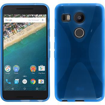 Silikon Hülle Nexus 5X X-Style blau
