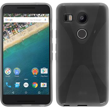 Silikon Hülle Nexus 5X X-Style grau + 2 Schutzfolien