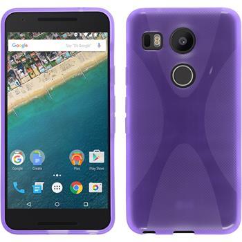 Silikon Hülle Nexus 5X X-Style lila + 2 Schutzfolien