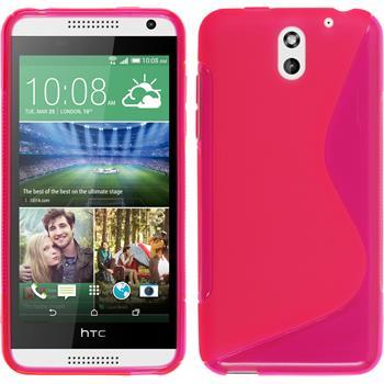 Silikon Hülle Desire 610 S-Style pink + 2 Schutzfolien