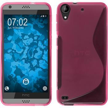 Silikon Hülle Desire 630 S-Style pink + 2 Schutzfolien