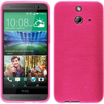 Silicone Case for HTC One E8 brushed hot pink
