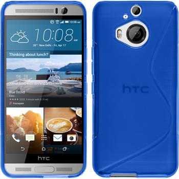 Silikon Hülle One M9 Plus S-Style blau + 2 Schutzfolien
