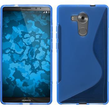 Silikon Hülle Mate 8 S-Style blau + 2 Schutzfolien