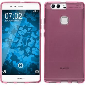 Silikon Hülle P9 Plus transparent pink + 2 Schutzfolien