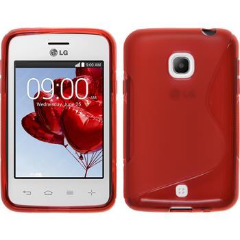 Silikon Hülle L30 S-Style rot + 2 Schutzfolien