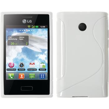 Silikon Hülle Optimus L3 S-Style weiß + 2 Schutzfolien