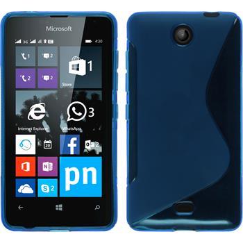 Silikon Hülle Lumia 430 Dual S-Style blau + 2 Schutzfolien