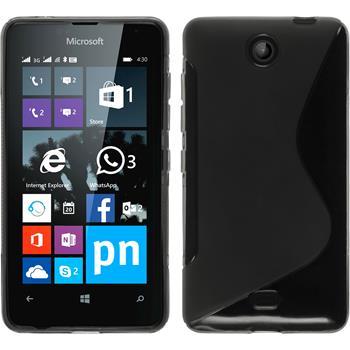 Silikon Hülle Lumia 430 Dual S-Style grau + 2 Schutzfolien