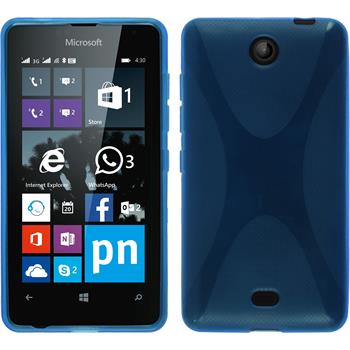 Silikon Hülle Lumia 430 Dual X-Style blau + 2 Schutzfolien