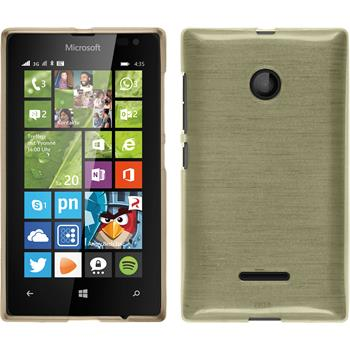 Silikon Hülle Lumia 435 brushed gold + 2 Schutzfolien