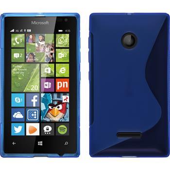 Silikon Hülle Lumia 435 S-Style blau + 2 Schutzfolien