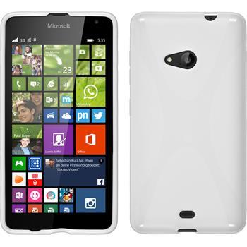 Silikon Hülle Lumia 535 X-Style weiß + 2 Schutzfolien