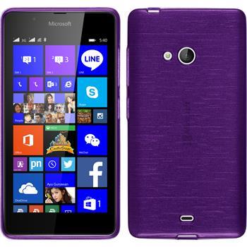 Silikon Hülle Lumia 540 Dual brushed lila + 2 Schutzfolien