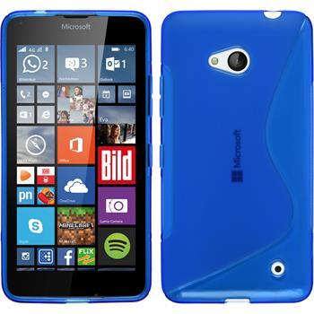 Silikon Hülle Lumia 640 S-Style blau + 2 Schutzfolien