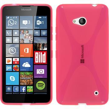 Silikon Hülle Lumia 640 X-Style pink + 2 Schutzfolien