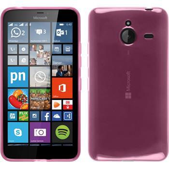 Silikon Hülle Lumia 640 XL transparent rosa + 2 Schutzfolien