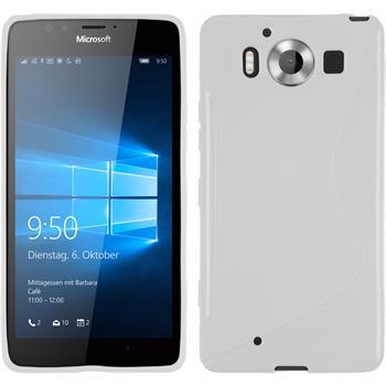 Silikon Hülle Lumia 950 S-Style weiß + 2 Schutzfolien