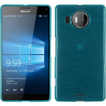 Silikon Hülle Lumia 950 XL brushed blau + 2 Schutzfolien