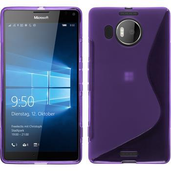 Silikon Hülle Lumia 950 XL S-Style lila + 2 Schutzfolien