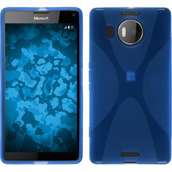 Silikon Hülle Lumia 950 XL X-Style blau + 2 Schutzfolien