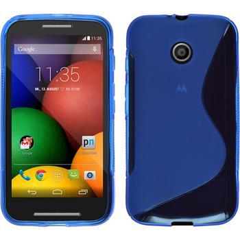 Silikon Hülle Moto E S-Style blau + 2 Schutzfolien