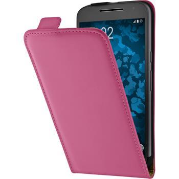 Kunst-Lederhülle Moto G4 Flip-Case pink