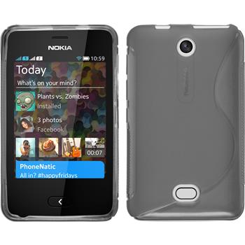 Silikon Hülle Nokia Asha 501 S-Style grau + 2 Schutzfolien