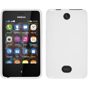 Silikon Hülle Nokia Asha 501 X-Style weiß + 2 Schutzfolien