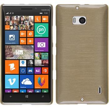 Silikon Hülle Nokia Lumia 930 brushed gold + 2 Schutzfolien