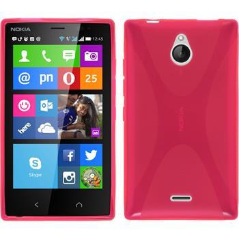 Silikon Hülle Nokia X2 X-Style pink + 2 Schutzfolien