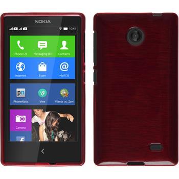 Silikon Hülle Nokia X / X+ brushed rot + 2 Schutzfolien