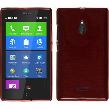 Silikon Hülle Nokia XL brushed rot + 2 Schutzfolien