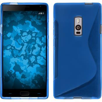 Silikon Hülle OnePlus 2 S-Style blau + 2 Schutzfolien
