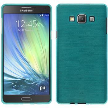 Silikon Hülle Galaxy A7 (A700) brushed blau + 2 Schutzfolien
