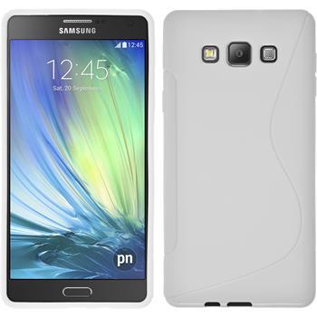 Silikon Hülle Galaxy A7 (A700) S-Style weiß + 2 Schutzfolien
