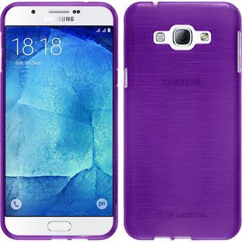 Silikon Hülle Galaxy A8 (2015) brushed lila + 2 Schutzfolien
