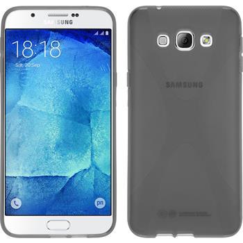 Silikon Hülle Galaxy A8 (2015) X-Style grau + 2 Schutzfolien