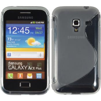 Silikon Hülle Galaxy Ace Plus S-Style grau + 2 Schutzfolien