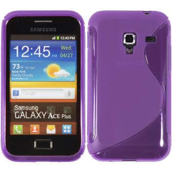 Silikon Hülle Galaxy Ace Plus S-Style lila + 2 Schutzfolien